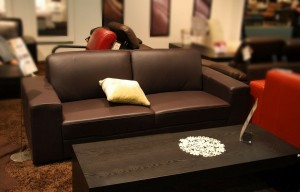 leather upholsteres lounge suite and coffee table